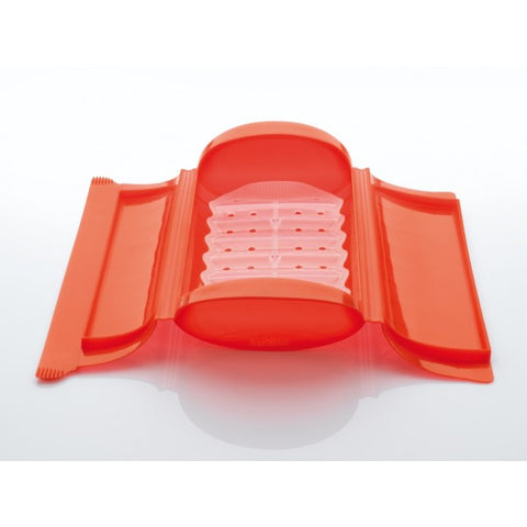 Image of Lékué - Silicone Food Steamer Case for 1 - 2 Servings with Draining Tray, Red