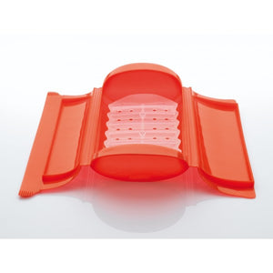 Lékué - Silicone Food Steamer Case for 1 - 2 Servings with Draining Tray, Red