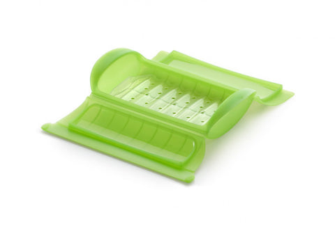 Image of Lékué - Silicone Food Steamer Case for 1 - 2 Servings with Draining Tray, Green