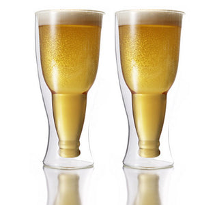 Double Wall Glass Beer Pilsner 390ml Set Of 2 by Brilliant