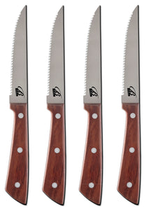 Brilliant - Steak Knives with Rosewood Handles, Steakhouse Style, Set of 4