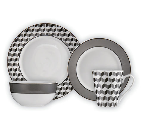 Image of Brilliant - Aria Anthracite 16 Piece Black & White Porecelain Dinnerware Set Service for 4