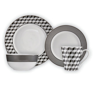 Brilliant - Aria Anthracite 16 Piece Black & White Porecelain Dinnerware Set Service for 4