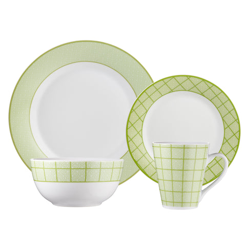 Image of Brilliant - Gothic Lime 16 Piece Green & White Porcelain Dinnerware Set Service for 4