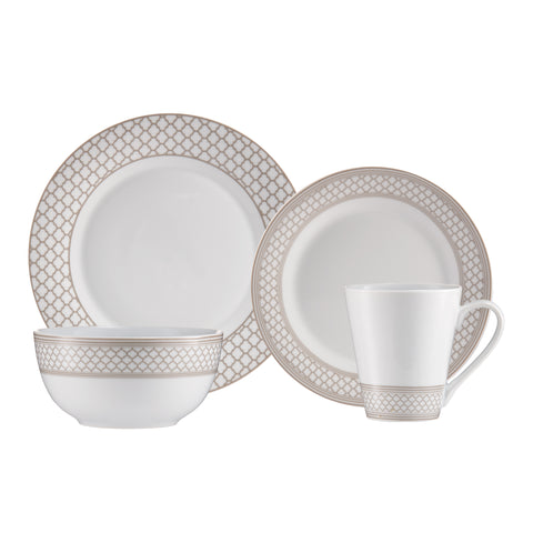 Image of Brilliant - Caprice Sand 16 Piece Taupe & White Porcelain Dinnerware Set Service for 4