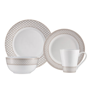 Brilliant - Caprice Sand 16 Piece Taupe & White Porcelain Dinnerware Set Service for 4