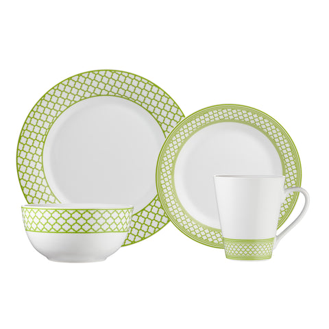 Image of Brilliant - Caprice Green 16 Piece Green & White Porcelain Dinnerware Set Service for 4