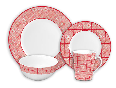 Image of Brilliant - Gothic Cherry 16 Piece Red & White Porcelain Dinnerware Set Service for 4
