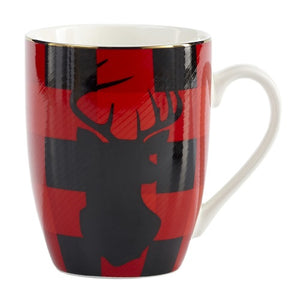 Brilliant - Red and Black Moose Holiday Christmas Coffee Mugs, 11 oz. Set of 2
