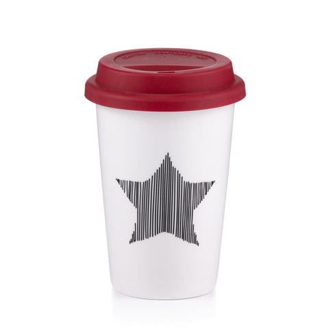 Holiday Star Travel Mug with Silicone Lid, 13.5 Oz.