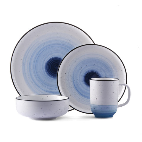 Brilliant - Metropole 16 Piece White and Blue Porcelain Dinnerware Set, Service for 4