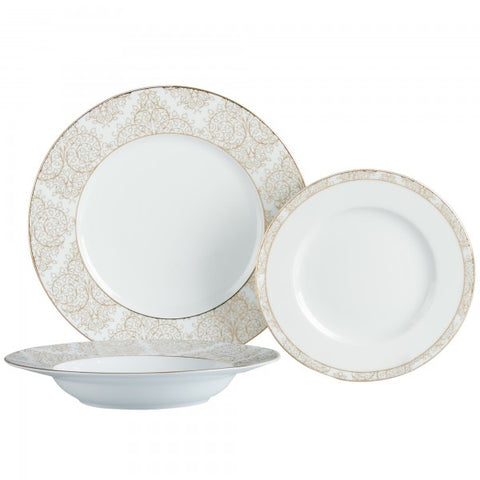 Brilliant - Ritz Gold 18 Piece Dinnerware Set, Service for 6