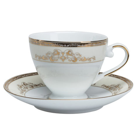 Brilliant - Majesty Gold Tea Cups and Saucers, Set of 6
