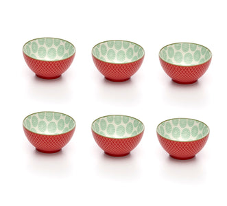Embossed Rose Colored Porcelain Stamped Bowls, 3 Inches, Set of 6