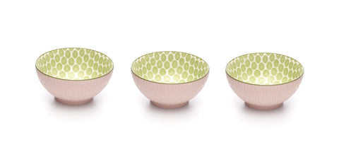 Image of Embossed Rose Colored Porcelain Stamped Bowls, 6 Inches, Set of 3