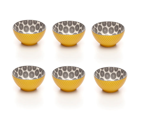 Image of Embossed Yellow Colored Porcelain Stamped Bowls, 3 Inches, Set of 6