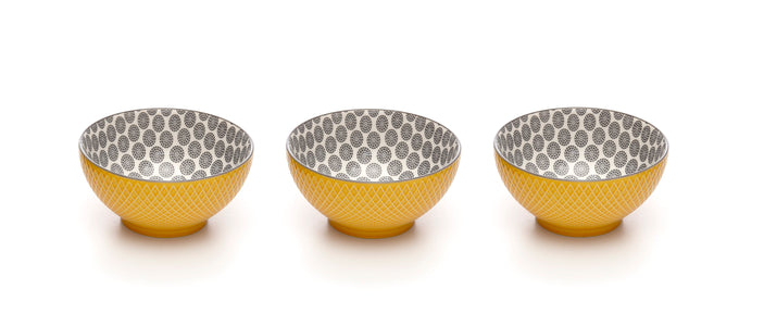 Embossed Yellow Colored Porcelain Stamped Bowls, 6 Inches, Set of 3