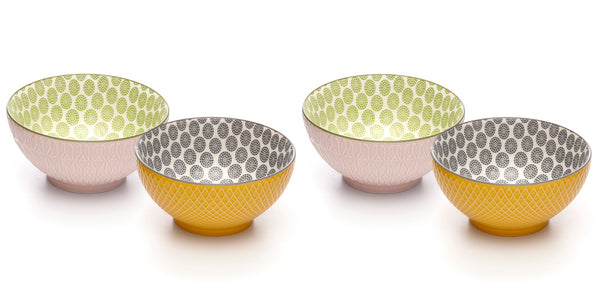 Embossed Assorted Colors Porcelain Stamped Bowls, 6 Inches, Set of 4
