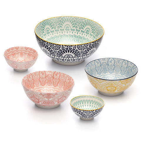 Paisley Assorted Colors and Sizes Porcelain Stamped Bowls, 5 Piece Bowls Set