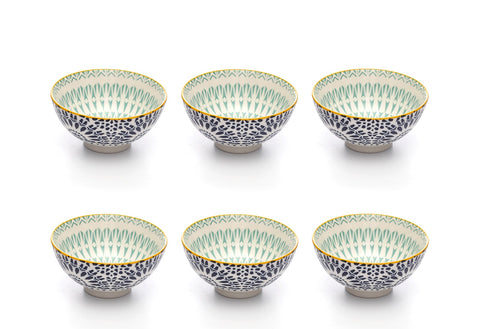 Image of Paisley Bleu Colored Porcelain Stamped Bowls, 4 Inches, Set of 6