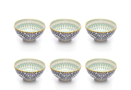Paisley Bleu Colored Porcelain Stamped Bowls, 4 Inches, Set of 6
