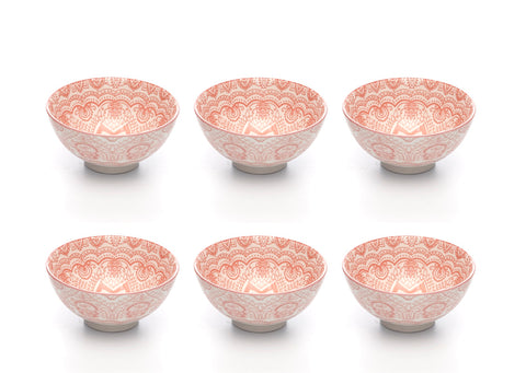 Paisley Fraise Colored Porcelain Stamped Bowls, 4 Inches, Set of 6