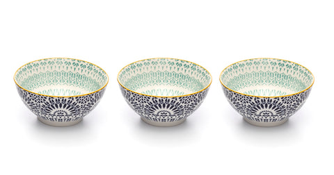 Paisley Bleu Colored Porcelain Stamped Bowls, 6 Inches, Set of 3
