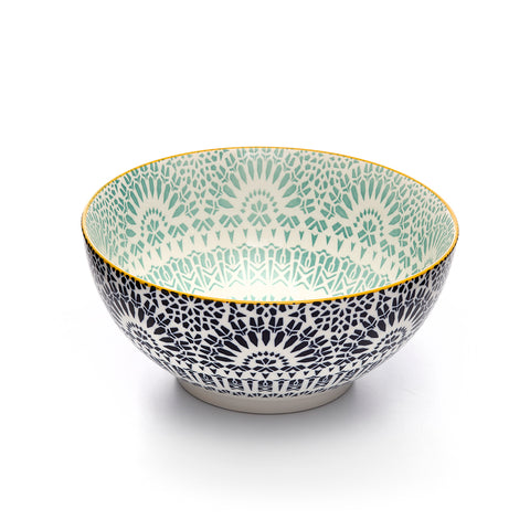 Image of Paisley Bleu Colored Porcelain Stamped Bowl, 8 Inches