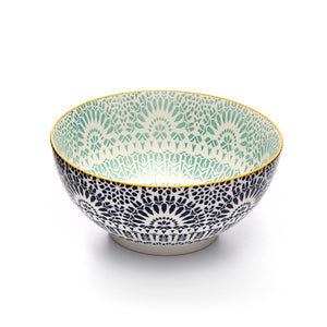 Paisley Bleu Colored Porcelain Stamped Bowl, 8 Inches