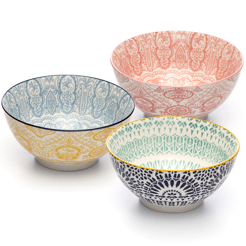 Image of Paisley Assorted Colors Porcelain Stamped Bowls, 6 Inches, Set of 3