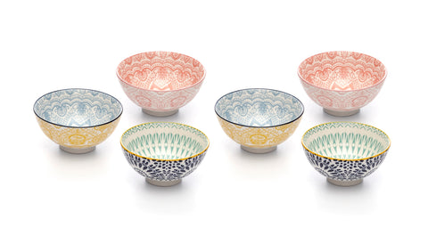 Paisley Assorted Colors Porcelain Stamped Bowls, 4 Inches, Set of 6