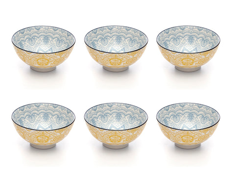 Image of Paisley Soleil Colored Porcelain Stamped Bowls, 4 Inches, Set of 6