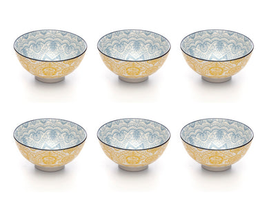 Paisley Soleil Colored Porcelain Stamped Bowls, 4 Inches, Set of 6