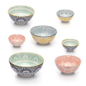 Paisley Assorted Colored Porcelain Stamped Bowls, One of Each Size and Color, Set of 7 Bowls