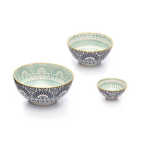 Image of Paisley Assorted Sizes Bleu Stamped Porcelain Bowls, Set of 3
