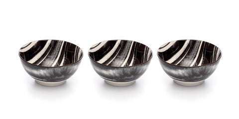 Kiku Striped Black and White Porcelain Stamped Bowls, 6 Inches, Set of 3