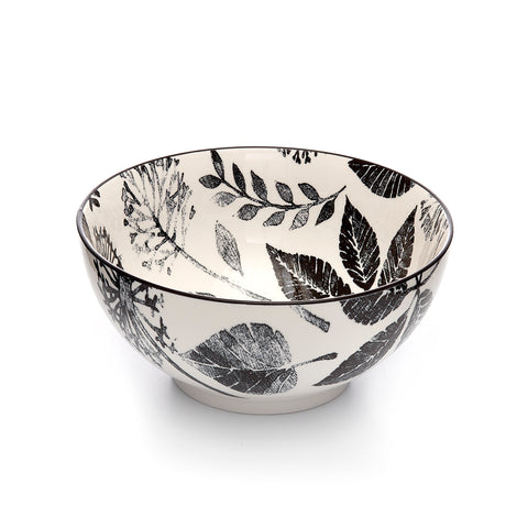 Image of Kiku Leaves Black and White Porcelain Stamped Bowl, 8 Inches