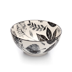 Kiku Leaves Black and White Porcelain Stamped Bowl, 8 Inches