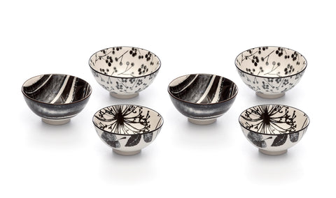 Kiku Assorted Black and White Porcelain Stamped Bowls, 4 Inches, Set of 6