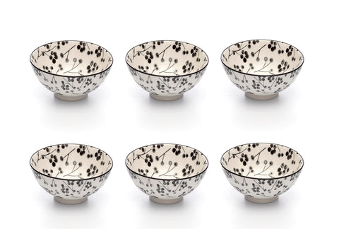 Image of Kiku Blossom Black and White Porcelain Stamped Bowls, 4 Inches, Set of 6