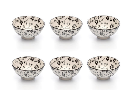 Kiku Blossom Black and White Porcelain Stamped Bowls, 4 Inches, Set of 6