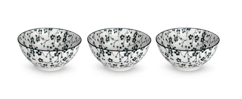 Kiku Blossom Black and White Porcelain Stamped Bowls, 6 Inches, Set of 3
