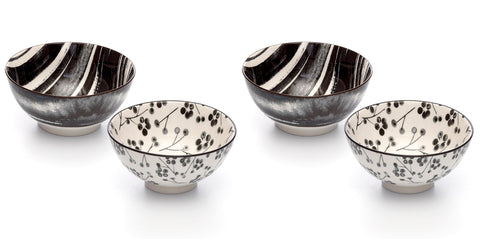 Image of Kiku Assorted Black and White Porcelain Stamped Bowls, 6 Inches, Set of 4