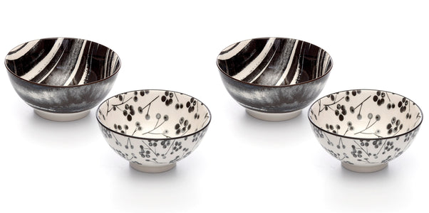 Kiku Assorted Black and White Porcelain Stamped Bowls, 6 Inches, Set of 4