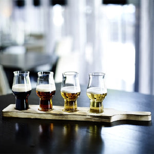 Craft Beer Tasting Flight Set with Drop Through Wooden Paddle