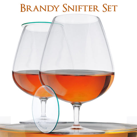 Image of Brandy Snifter Set of 2 Brandy Glasses with Glass Lids in a Gift Tube