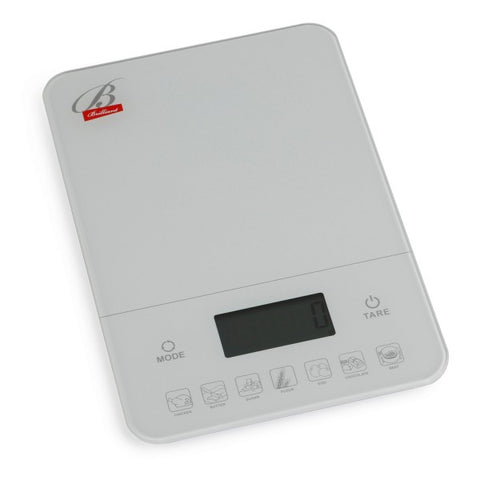 Brilliant - Digital Kitchen Nutrition Scale With Calories and Weight Calculator, White