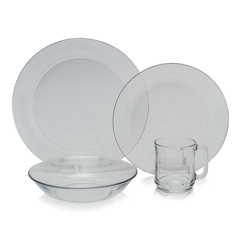Duralex - Clear Glass 24pc Dinnerware Set, Service for 6