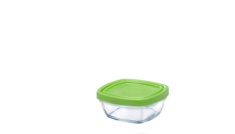 Image of Duralex - Lys Square Stackable Bowl with Green Lid 9 cm (3 1/2 in)
