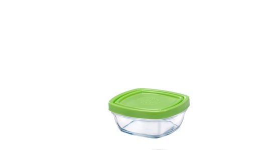 Duralex - Lys Square Stackable Bowl with Green Lid 9 cm (3 1/2 in)